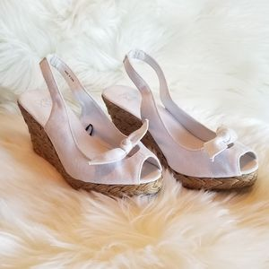New NY&Company White Wedge Sandals Sz 7